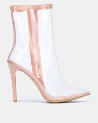 Public Desire Sheer Ankle Boots Nude