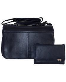 Fino 2 Pc Multi-Compartment Bag with Purse Set - N. Blue
