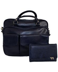 Fino 2 Pc Organizer Bag with Purse Set - Navy Blue