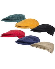 Fino Unisex Corduroy Caps with Embroidery - 6 Piece Value Pack