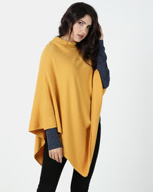 G Couture Mustard Split Collar Design Poncho