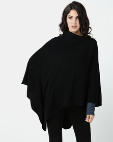 G Couture Black Split Collar Design Poncho