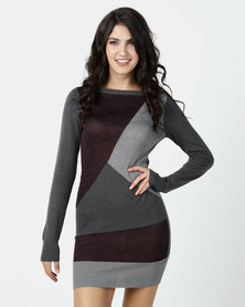 G Couture Grey Colour Block Knit