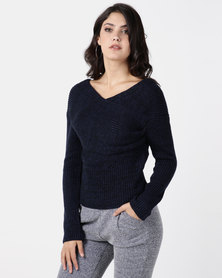 G Couture Navy Knitwear Top