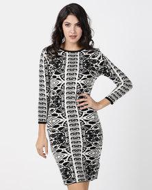G Couture Black & Stone Jacquard Knit Dress