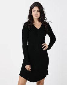 G Couture Black V Neck Ribbed Knitwear Dress