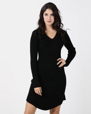G Couture Black V Neck Ribbed Knitwear Dress