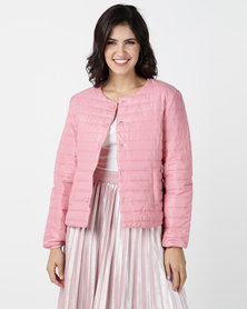 G Couture Pink Collarless Puffer with Buttons