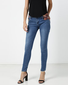 G Couture Blue Denim Jeans With Embroidered Tape