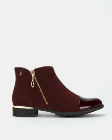 Miss Black Hadar Ankle Boots Burgundy