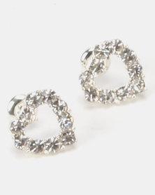 Jewels and Lace Best Friends Heart Rhinestone Earrings Silver