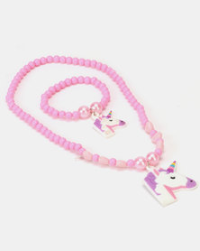 Jewels and Lace Unicorn Necklace & Bracelet Set White