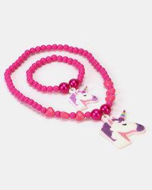 Jewels and Lace Unicorn Necklace & Bracelet Set Pink