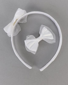Jewels and Lace Bow Aliceband & Clip Pack White