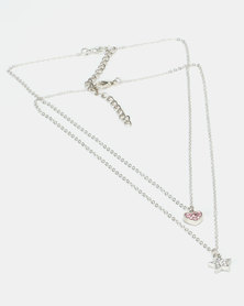 Jewels and Lace Rhinestone Star And Heart Necklace Twinpack Set Pink