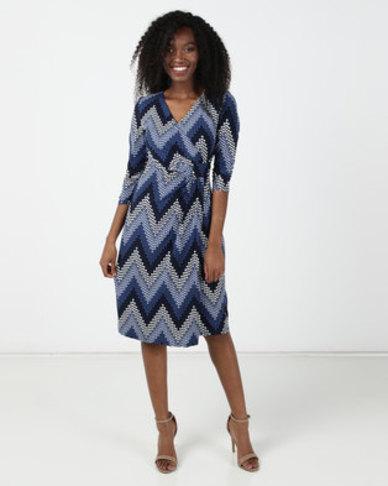 Revenge Pattern Wrap Dress Blue