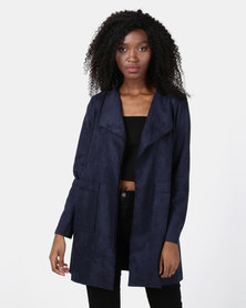 Revenge Shawl Mid Length Coat Navy