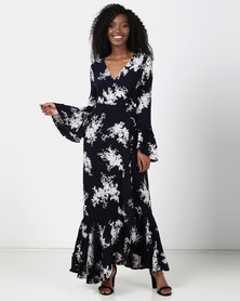 Revenge Maxi Bell Sleeved Dress Navy