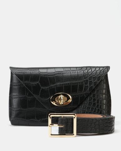 33560720d5f Blackcherry Bag Essential Faux Croc Belt Bag Black