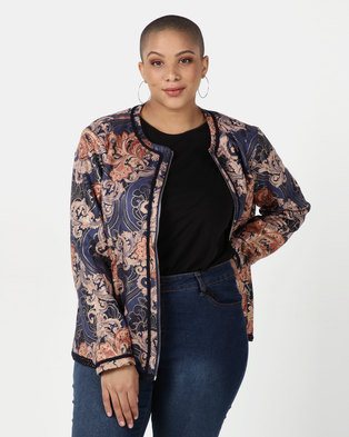 Queenspark Plus Collection Foil Printed Suede Jacket Navy