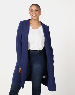 Queenspark Plus Collection Hooded Knitwear Jacket  Navy