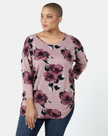 Queenspark Plus Collection Printed Cashmillon Knit Top Soft Pink