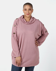 Queenspark Plus Collection Cowl Neck Rounded Hem Knit Top Soft Pink