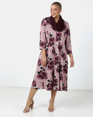 Queenspark Plus Collection Fit And Flair Knit Dress With Snood Soft Pink