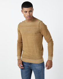 JCrew Crew Neck Denim Dyed Jersey Mustard