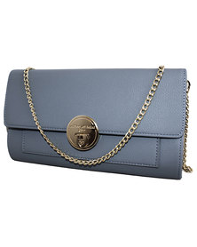 Fino Pu Leather Clutch Handbag with Chain Strap- BLUE