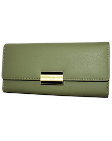 Tri-Fold Flap Over Green PU Leather Purse with Box