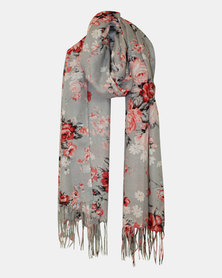 Razberry Grey Print Scarf with Coral and Pink Rose Design