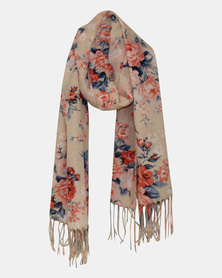 Razberry Peach Print Scarf with Coral and Blue Rose Design