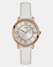 Guess Kismet Leather Strap Watch White