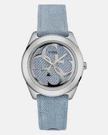 Guess G Twist Denim Strap Watch Lite Blue