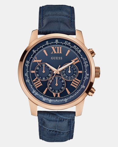 Guess Horizon Leather Strap Watch Rose Gold