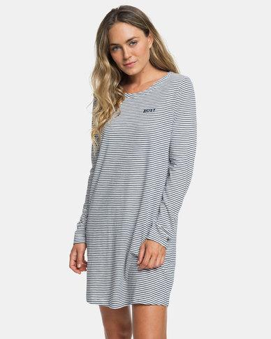 Roxy Love Sun Long Sleeve Dress Blue Stripe