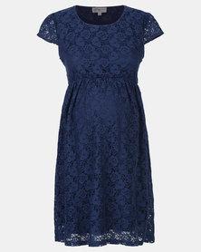 Foxy Mama Lace Dress Navy Blue