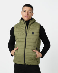 D-Struct Hooded Quilted Gilet Khaki