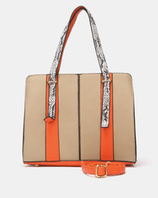 Seduction Faux Snake Shopper Bag Orange/Taupe