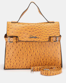Seduction Faux Ostrich Satchel Bag Mustard