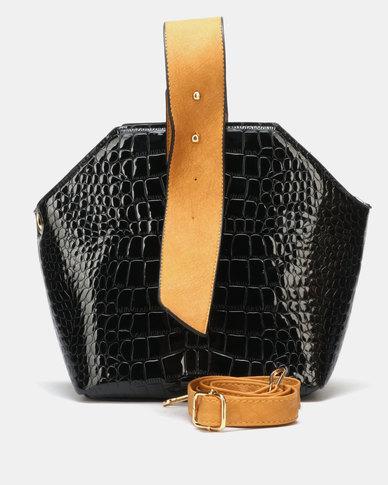 Seduction Faux Croc Bag Black