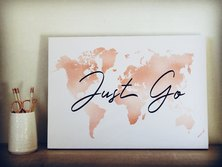 "A Thousand Things ""Just Go"" World Map Canvas Print"