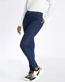 Contempo Knitted Denim Jeggings Indigo