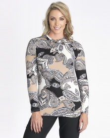 Contempo Long Sleeve Brushed Top With Pie Crust Stone