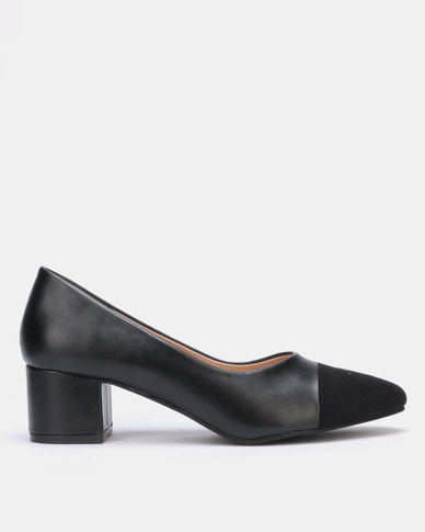 Utopia Block Heel Suede Toe Court Black