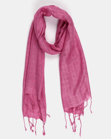 Joy Collectables Plain Tassel Scarf Pink