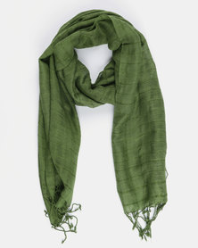Joy Collectables Plain Tassel Scarf Green