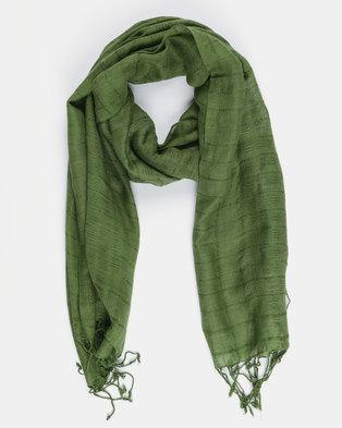 Joy Collectables Plain Tassel Scarf Green