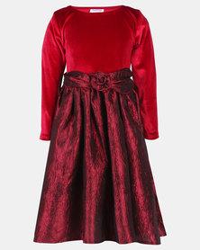 Fairyshop Taffeta Rose Dress Red